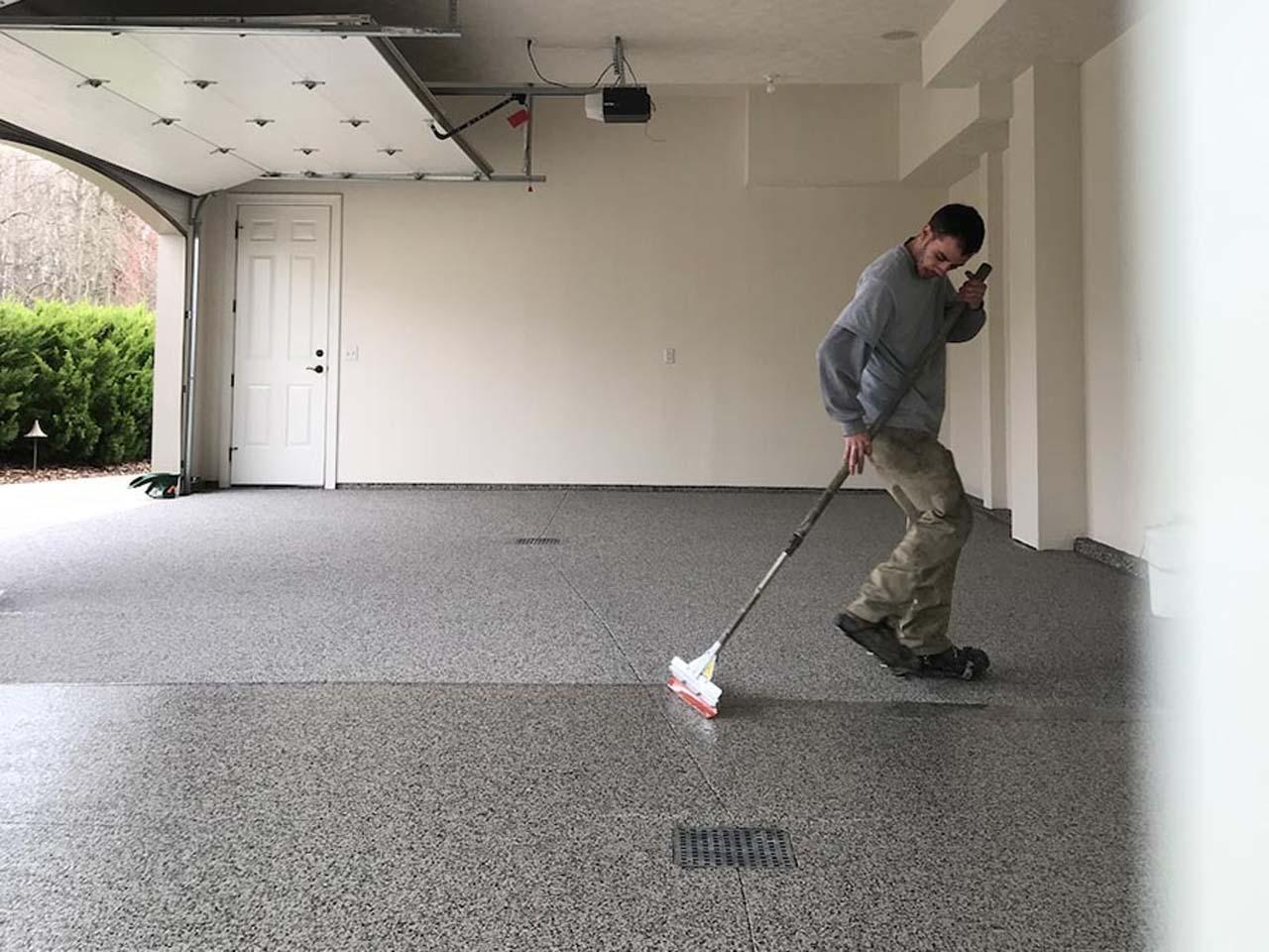 Guy wiping floor