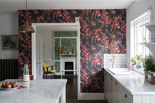 prints on wall in kitchen